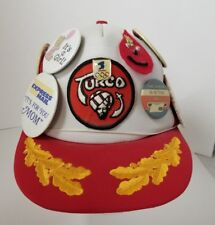 Vintage Turco Baseball Cap Trucker Hat Covered w Buttons Pins Adjustable Size