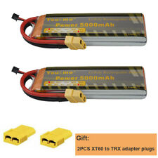 2x Youme 7.4V 5000mAh 2S Lipo Battery 50C 100C for Helicopter Drone Quadcopter