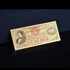 1000 $ Dollars USA 1878 Colored  Bill Note 24k Gold Foil Banknote