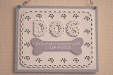 Plaque The Dog Housekeeping Staff Live Here Dog Lovers Wooden Sign  22cm F1715