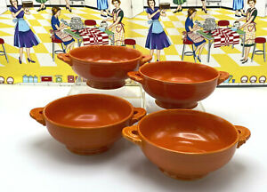 4 Vintage Fiesta Red Cream Soup Bowls with Handles Radioactive Red Fiestaware