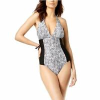 Calvin Klein Swimsuit One-Piece Size 8 Halter Black/White Pleated Side NWT New