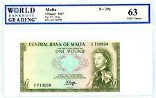 Malta … P-29 … 1 Pound … L.1967 ... ch*UNC*   WBG 63.