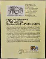 USPS 1977 First Day Issue Souvenir Page, First Civil Settlement in Alta, CA