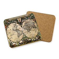 VINTAGE Old World Map #1 Drink Coaster tappetino in sughero quadrato Set X4-viaggio globo