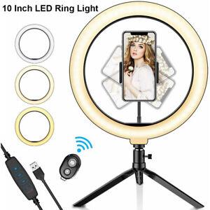10'' LED Ring Light Dimmable Lighting Phone Selfie Mini Tripod Stand Lamp Live
