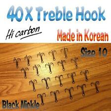 40X  Treble Hook Size 10 Chemically Sharpened High Carbon  Black Nickel