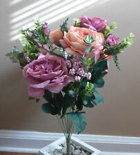 12 stems (one bunch) Artificial Pink Purple Tea Silk Flowers