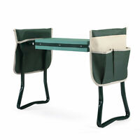 Folding Garden Kneeler and Seat Garden Bench Yard Planting Stools  w/ Tool Pouch