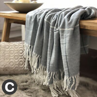 Luxury Woollen Touch Dark Grey White Checked Blanket Throw Bed Sofa Fringed
