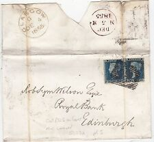 * 1855 2 x 2d BLUES SG23A SINGLE CAT £525 ON COVER =159= GLASGOW NUMERAL > RBOFS