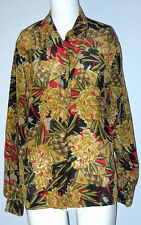 PETITE by ELITE Size 8P Brown Floral 100% Silk Long Sleeve Blouse