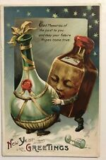 Unusual~Wine & Whiskey Bottles~Kissing Antique~New Year Fantasy~Postcard-m903