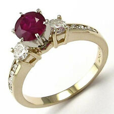Engagement Ring 1.25ct. 4 to 9.5 14k Yellow Gold Ruby and Diamond