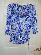 Dana Buchman Blue/White Design Poly/Spandex Knit 3/4 Sleeve Top XS NEW