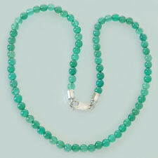 Grüne Achat Perlenkette - Collier Silber und grüne Achatkugeln - Perlenkette