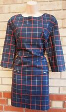 MNG BLUE RED WHITE CHECKED BODYCON TUBE ZIP SIDES FORMAL PUNK COTTON DRESS XL