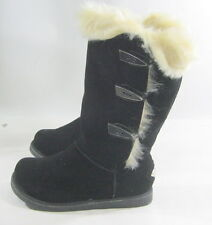 Womens Black Round Toe Winter Warm Sexy Mid-Calf Boot Side Size 5.5