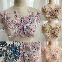 Flower Embroidery Applique Lace Beaded Tulle Trim Wedding Dress Bridal Decor DIY
