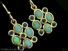 E070- EXQUISITE Genuine 9ct Gold SOLID Natural Opal & Sapphire Drop Earrings