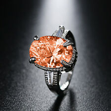 Women Classic Champagne CZ Topaz Gemstone Silver Plated Big Ring Wedding Jewelry