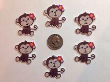 6 Pcs Lot Monkey Flatback Resin Cabochon Hair Bow Center Supply.