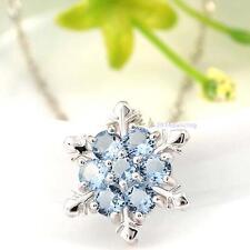 Charm Millésime Lady Blue Crystal Snowflake Frozen Flower collier pendentif DC