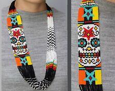 Beautiful Handmade Mexican Sugar Skull Necklace, Huichol Ethnic