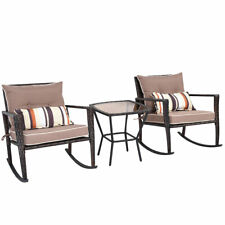 3 PCS Patio Rattan Wicker Furniture Set Comfortable Rocking Chair Coffee Table
