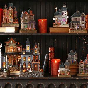 "3701647 RAZ 9.5"" B/O Lighted Haunted House Slim-line Village Halloween Decor"