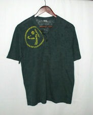 Menz Zumba Workout Vintage Polo Henley Short Sleeve Dark Gray Button Shirt Sz M