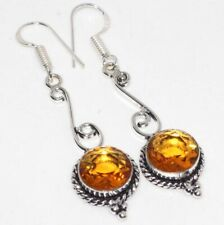 "Earrings 2.4"" Valentine's Gift Gw Citrine 925 Sterling Silver Plated"