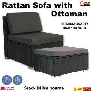Outdoor Furniture Patio Rattan Middle Sofa & Ottoman Wicker Lounge Garden  Set