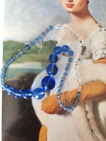 ANTIQUE C30s ART DECO CORNFLOWER BLUE CRYSTAL FACETED BEADS NECKLACE