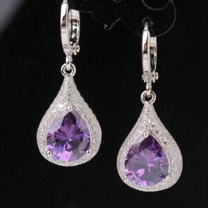 18K White Gold Diamond and Amethyst Purple Stone Dangle Earrings  315