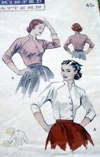 Lovely Vtg 1950s Blouse Butterick Sewing Pattern 12/30