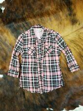 Arizona Jeans M Medium 3/4 Sleeve Snap Button Down Plaid shirt Pockets Juniors