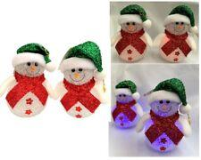 2xSnowman Christmas Cute Snowman w Light Ornament Hanging Xmas Home Decor