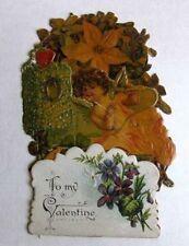Vintage Pull Down Valentines Day Card Angel w/ Flowers To My Valentine