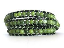 Olive Green Gemstone Triple Wrap Bracelet Black Leather Silver Button