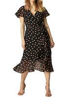 Women's Size 8,10,12,14,16,18 Wallis Polka Dot Wrap Midi Dress RRP: £45.00 (b14)