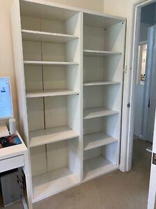large 8 x shelf white book shelf / shelving unit