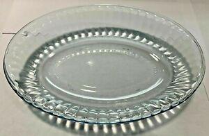 VINTAGE COLOREX BLUE GLASS OVAL RIBBED AU GRATIN/VEG./SERVING DISH/BOWL-BRAZIL