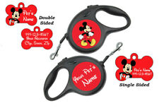 Mickey Mouse Custom Pet Id Dog Tags/Retractable Leash Personalized for Your Pet