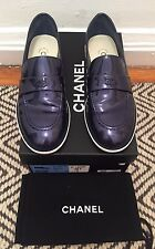 Authentic Chanel Patent Leather Loafers in Blue - 16P G31675 X47759 - SZ 37