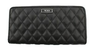 TUMI Quilted Leather Zip Around Large Wallet Quilt Card Clutch Black 014692D