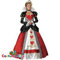 Womens Ladies Deluxe Queen of Hearts Alice in Wonderland Fancy Dress Costume