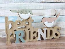 Best Friends Decorated Birds Wooden 3D Words Freestanding Plaque Sign