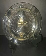 Vintage Depression Glass Ashtray Checkered Rim Starburst Center Match Holder