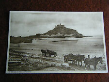 ST MICHAELS MOUNT PENZANCE CORNWALL HORSE & CART ON THE BEACH
